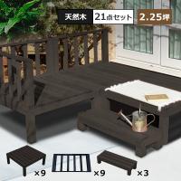 ウッドデッキ DIY キット 木材 天然木 デッキセット 21点セット 2.25坪 ダークブラウン 0.75坪×3セット (DIYデッキ)