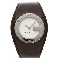 グッチ 時計 レディース GUCCI 腕時計 Gバンデュー カーフ革 ホワイト/ブラウン ウォッチ ...