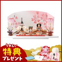 雛人形 ひな人形 千匠 平飾り 親王飾り 全体的にやさしい色合いで統一したデザインは春のお節句にぴっ...