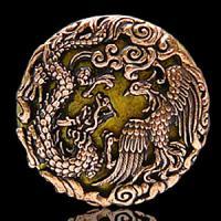 地上から天へと飛翔する龍、自在に空を舞う鳳凰、この2つのモチーフで作られた真鍮コンチョです。モチーフ...