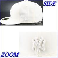 new era 59fifty cap custom basic mark yankees MLB6010501 (ホワイト*メタルホワイトマーク)
