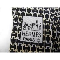 【新品未使用展示品】HERMES エルメス メンズ ネクタイ 幾何学模様 シルク ブラック アパレル ファッション 小物【本物保証】