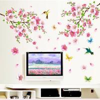 ウォールステッカー 春満開 桜と蝶と鳥たち 壁シール 和風 ピンク はがせる 綺麗な 花