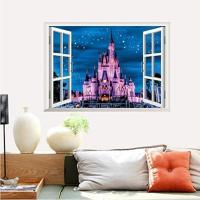 ウォールステッカー 窓 プリンセスシンデレラ城 3D 壁シール ピンク ディズニー 剥がせる 夜のお城