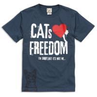 Tシャツ メンズ レディース 半袖 猫 FREEDOM - デニム ネコ ねこ 猫柄 雑貨 SCOP...
