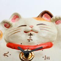 掛時計 (CY-Y9772) 福々招き猫 掛け時計 風水 子猫 陶器 日本製 アナログ