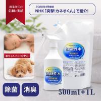 推奨セット 特許機器で生成 安全の殺菌液 【 強酸性水 500ml+1L 】 うがい 手洗い アトピー 化粧水 にきび 対策 ウイルス マスク消毒