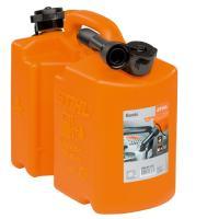 5Lの燃料と3Lのチェンオイル用のツイン携行缶(オレンジ)。給油ノズル1本付。UN承認   【仕様】...