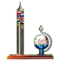 サイエンストイ 科学 ガリレオ 温度計とガラスの湿度計セット   円筒形の温度計と地球儀のようなガラ...