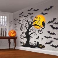 在庫処分市 ハロウィン 装飾 飾り デコレーション ウォールステッカー 壁紙 こうもり かぼちゃ 木 お化け屋敷 肝試し