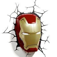 マーベル・コミックのスーパーヒーロー・アイアンマンのマスクの3D壁用LED照明です。まるで壁から顔が...