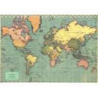 1940年代のレトロ&クラシックな世界地図古地図 アンティークマップを高級紙製のポスターに。ラッピン...