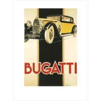 イタリアの車メーカー・ブガッティ(Bugatti)のレトロ&ヴィンテージな広告ポスター。 インテリア...