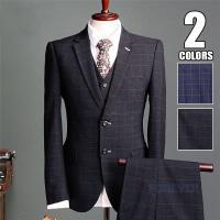 ビジネススーツ メンズ 3ピーススーツ スリーピーススーツ セットアップ チェック柄 紳士スリム 2...