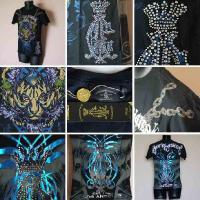 クリスチャンオードジェー Tシャツ メンズ 半袖 プラチナ タイガー/黒 Christian Audigier ラインストーン オードジェイ 5004