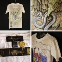 クリスチャンオードジェー Tシャツ メンズ 半袖 丸首 鷹蛇龍/白 BIABFPEE ラインストーン  Christian Audigier 5009