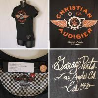 クリスチャンオードジェー Tシャツ メンズ 半袖 丸首 ガレージ58/黒 B0CBGJYB  ED HARDY Christian Audigier 5019