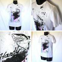 エドハーディー Tシャツ メンズ 丸首 半袖 鮫/ホワイト白 EDHARDY 5066
