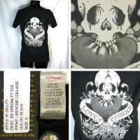 エドハーディー Tシャツ メンズ EDHARDY 半袖 丸首 ラブキル&ローズ/黒 ブラック 5115