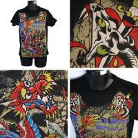 エドハーディー Tシャツ メンズ 半袖 丸首 ブルードラゴン 黒 ブラック EDHARDY 5122