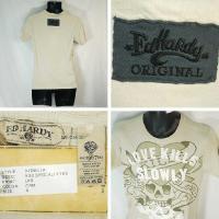 エドハーディー Tシャツ メンズ 半袖 丸首 Wラブキル/クリーム EDHARDY 5158