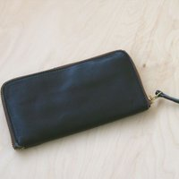 栃木レザー/長財布 ヌメ革 日本製 ラウンド 09 ブラック(新品本物)ヌメ革フルベジタブルタンニングレザー
