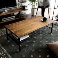 ローテーブル リビングテーブル おしゃれ 木製 センターテーブル 収納 棚付き リビング テーブル ブルックリン ヴィンテージ カフェテーブル インダストリアル