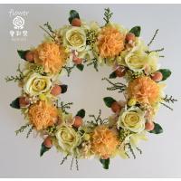 プリザーブドフラワーリース 黄色のバラにオレンジ系のお花 明るい雰囲気