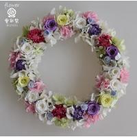 プリザーブドフラワーリース 白・紫・淡い緑のバラ アジサイ ギフト プレゼント 誕生日