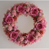 プリザーブドフラワーリース 濃いピンクのバラ キュートなピンクのお花 ギフト プレゼント 誕生日