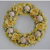 プリザーブドフラワーリース 黄色のバラと白いお花 イエロー系