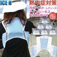 熱中症対策 冷却ベスト アイスハーネスレディース 保冷剤6個付きセット ブルーチェック×ホワイト 在庫限り