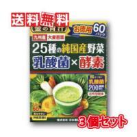金の青汁25種の純国産野菜 乳酸菌×酵素 3.5g×60包 3個セット 日本薬健
