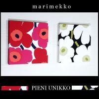 ファブリックパネル marimekko pieniunikko 30×30cm 2枚組 2カラー レッド&ホワイト 【安定型25mm厚】 マリメッコ ピエニウニッコ 赤 白|alice55