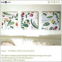 Boras/Doris/ドリス/40×40cm/3枚セット/グリーン/北欧ファブリックパネル/インテリアパネル/リーフ/花