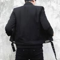 テーラードジャケット メンズ ショート丈 安全ピン 変形 インポート スリム 細身 ネイビー 新作 30代 40代 個性的 ホスト V系