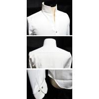 ドレスシャツ メンズ 長袖シャツ 無地 サテンシャツ 日本製 春 新作 結婚式 個性的 V系 ビジュアル系 ホスト