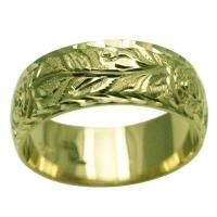 ハワイアンジュエリー リング 指輪 結婚指輪 オーダーメイド しっかりした1.75mm厚 幅8mm 14k グリーンゴールド チューブローズバレルリング
