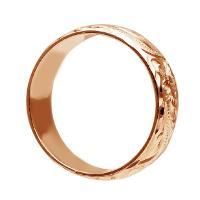 ハワイアンジュエリー リング 指輪 結婚指輪 オーダーメイド 重厚な立体感2mm厚 幅6mm 14k ピンクゴールド バレルリング