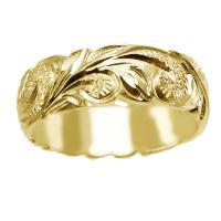 ハワイアンジュエリー リング 指輪 結婚指輪 オーダーメイド 重厚な立体感2mm厚 幅6mm 14k イエローゴールド ダイヤ入り バレルリング