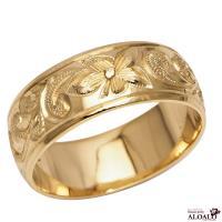 ハワイアンジュエリー リング 指輪 結婚指輪 オーダーメイド しっかりした1.75mm厚 幅8mm 14k イエローゴールド バレルリング