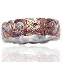 ハワイアンジュエリー リング 指輪 ピンクゴールドコーティング ハワイアンスクロール カットアウト リング