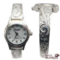 ハワイアンジュエリー バングル ウォッチ 腕時計 ハワイアンスクロール ウェーブバングルウォッチ レディース シルバー プルメリア スクロール