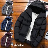メンズ 中綿ジャケット ショット丈 フード付き キルティングコート 中綿コート ビジネス 通勤 通学 防寒着 2019
