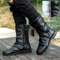 エンジニアブーツ メンズ ブーツ ミリタリーブーツ 皮靴 革靴 ワークブーツ PUレザー ロングブー...