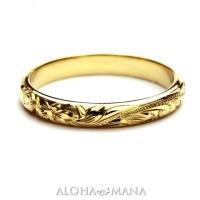 記念日にふさわしいゴールドリングは美しさで選びたい。華やかなゴールドの魅力が解き放たれる幅3mmバレ...