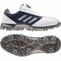 アディダス ゴルフシューズ アルファフレックス ボア CEZ98 メンズ ゴルフ ダイヤル式スパイクシューズ ホワイト×ネイビー adidas