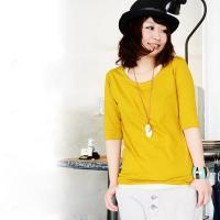 商品名:シンプルカラー5分袖ロングカットソー  しっかりと安心の作りの日本製◎コットン100%が嬉し...