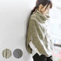 冬バーゲン*:.☆   商品名:ケーブル編みオフタートルニットポンチョ  あったか可愛いニットポンチ...