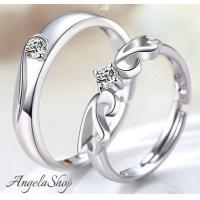 指輪レディース シルバーリング★天使の羽デザインのペアリング♪サイズフリーなので、指のサイズがわから...
